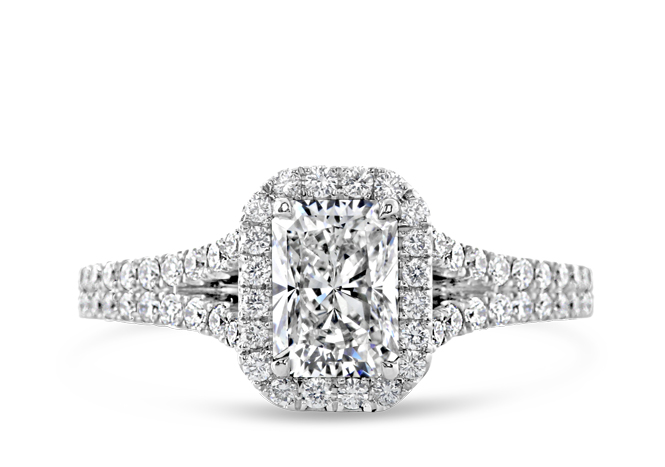 Halo Radiant Engagement ring