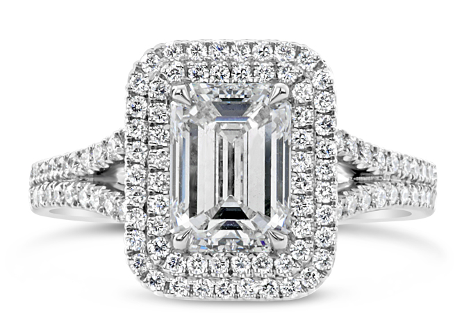 Emerald Cut Double Halo Engagement Ring